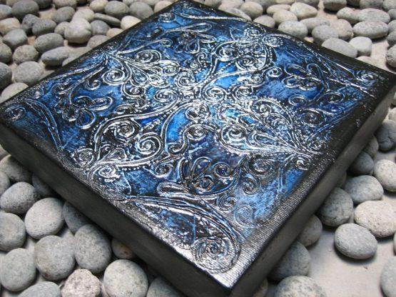 Indigo - Original Abstract Textured Painting on Canvas
