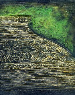 Mystic Golden Urn - Original Textured Acrylic Painting on Canvas