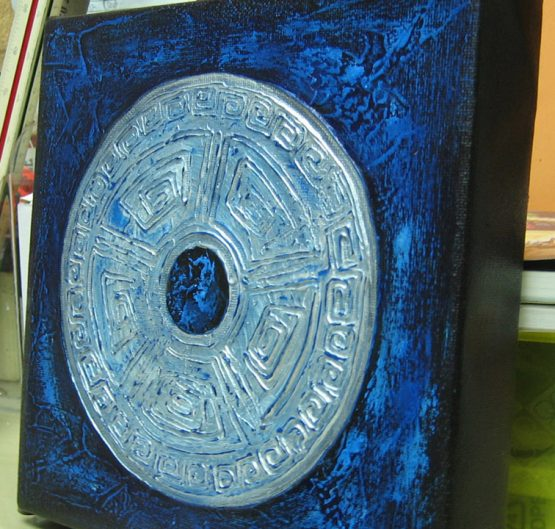 Oriental Sign II - Original Abstract Textured Painting on Canvas