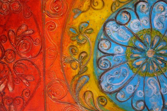 Turkish-Delights - large textured acrylic painting on canvas