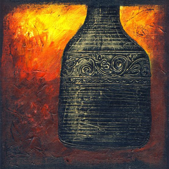 Firery Urn II - Original Abstract Textured Painting on Canvas
