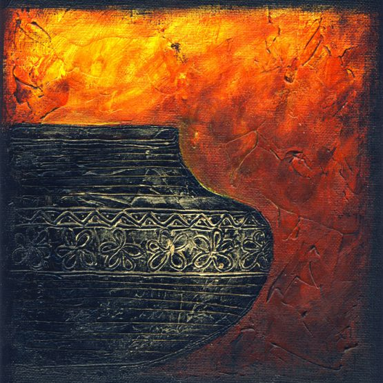 Firery Urn III - Original Abstract Textured Painting on Canvas