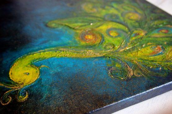 Midnight Bloom - Origninal Texture Acrylic Painting on Linen